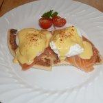 Eggs Royal on Potato Scones