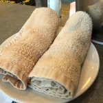 WARM DAMP TOWELS