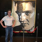 Artwork in the lobby. Here is a picture of Elvis Presley (I am a big fan) made out of stone pebb