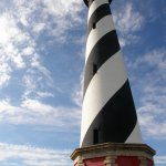 The Cape Hatteras lighthouse, nearly 200 feet high, is the tallest beacon in the United States.