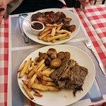 Steak with red wine mushroom above, Slow roast beef crispy fries and roasted potatos