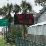 Flashing sign isn't that easy to read, just before the turn off to St George Island