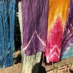 Tie dyed silk scarves