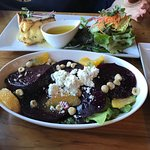 Taverna beet salad, quiche and green salad