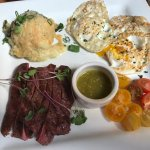 Florentine Flat Iron Steak & Eggs with spinach-potatoes gratin, cherry tomatoes