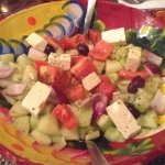 Greek salad~moussaka-chicken in olives