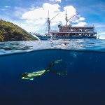 Freediving of the boat