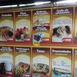 menu on the wall