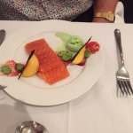 Salmon gravlax with wasabi ice-cream