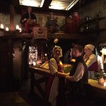Fun band above the bar with some very interesting medieval instruments.