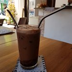 Iced mocah from the cafe ~ the reusable metal straw was an appreciated sustainable touch!