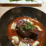 Beef Cheek with Gnocci and side dish of Brocillini.