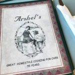 Menu at Arshel's Cafe