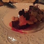 Beetroot and chickpeas with black garlic yogurt