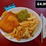 Special: Cod, chips, mushy peas. £4.95!