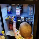 Mini-fridge, filled daily.  Kids loved it.