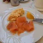 Breakfast - salmon and scrambled egg