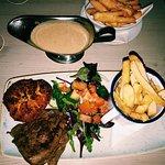 The rump steak done medium rare with blue cheese - also halloumi fries