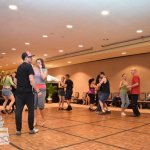 my husband and I teaching dance in one of the Sheraton Ballrooms