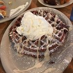 Red velvet waffle and what's left of the catfish special