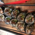 Rock Star roll - unagi, fish, avocado, fuji apple and balsamic pomegranate reduction