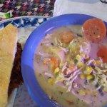 1/2 Pulled pork sandwich and Chicken Pot Pie Soup