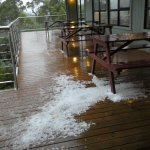 Early morning hail on deck outside restaurant