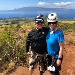 The intrepid adventurers enjoying the view of Lanai from Maui.