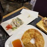 Green onion cake and California roll