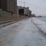 Chicago Lake front Trail in freezing Feb.
