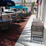 Plaza side seating available too.