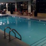 Small pool - not kid friendly - on top floor of adjoining complex.