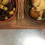 citrus marinated / green olive & smoked scamorza arancini with pesto & parmesan