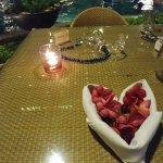 poolside dinner setup