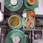 Panaeng Curry, Tom Yum Goong, Som Tam, Rice