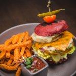 Big Chicken Kahuna burger with sweet potato fries