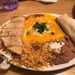 Enchilada Combo with Blue Corn enchiladas with the Colorado sauce