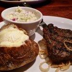 60oz steak, fresh baked potato and coleslaw