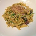 Tagliatelle with baby brussels, pancetta, and creamy sauce