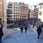 Aerial view of Fontanna Barcaccia, the architecurally beautiful Ugly Fountain from Spanish steps