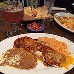 Taco burrito, beans, and rice.
