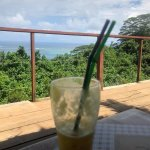 Fresh pineapple juice with a view