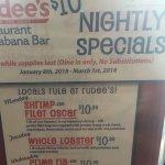 Nightly specials