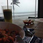 ceviche y la vista desde el restaurante