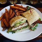 Bird on Third chicken sandwich with sweet potato fries made for a satisfying lunch