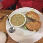 Clam chowder and lamb burger