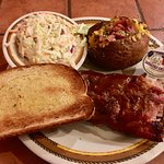 Ribs, Loaded potato & slaw....