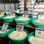 different rice at the local market - street food tour