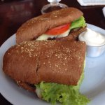 A very good steak sandwich full of flavor. The perfect neighborhood cafe , right next to a self
