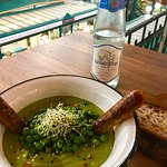 So good, pea soup with house made curry sausage!
